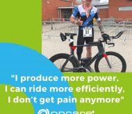 Leigh Bland with his bike and custom prosthetic limb