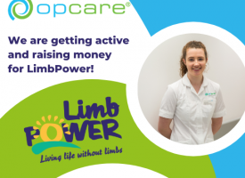 Showing both Opcare and Limbpower logos and text about how Opcare are raising money for LimbPower