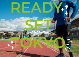 Ready set Tokyo text overlaying a running track