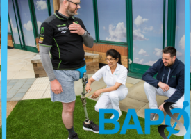 BAPO logo, Prosthetists and Orthotists Day 2021, clinician working with patient